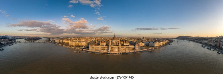 Wide panorama aerial drone view of Hungarian Parliament by Danub