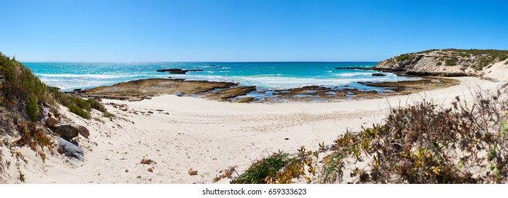 Wide panorama of a beautiful atlantic ocean bay, with white sand beach and clear blue skies, and a couple of shrubs in the foreground and a rocky shoreline.