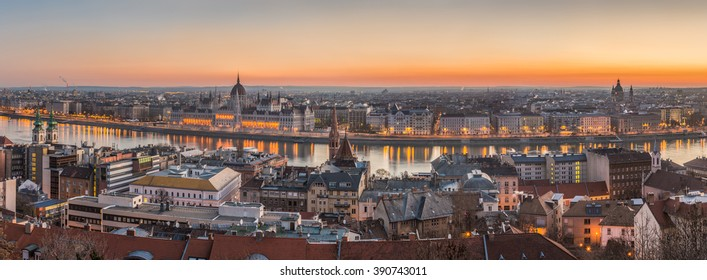 Wide Panorama of Budapest with Hungarian Parliament and Danube River at Dusk