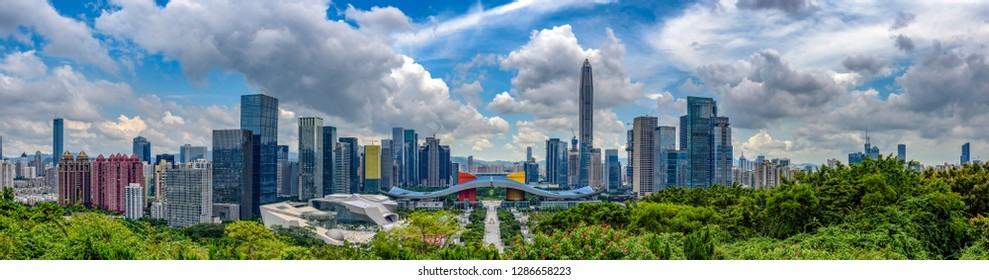 Wide panorama of Cityscape of Shenzhen, China