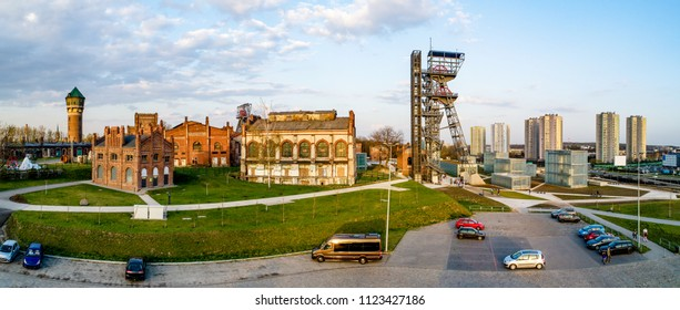 Wide panorama of contemporary Katowice city center in Poland with old buildings, lift and facilities of a former coal mine