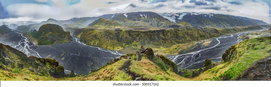 Wide panorama of the dangerous Krossa river, with black volcanic ash, and the volcano and ice cap of Eyjafjallajokull, which erupted in 2010. From the summit of Vesturdalur, Porsmork,Iceland
