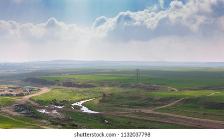 Wide panorama of desert Negev near Beer-Sheba at spring