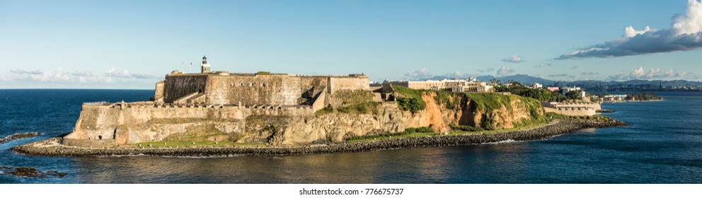Wide panorama of the El Morro Fortress in San Juan, Puerto Rico.