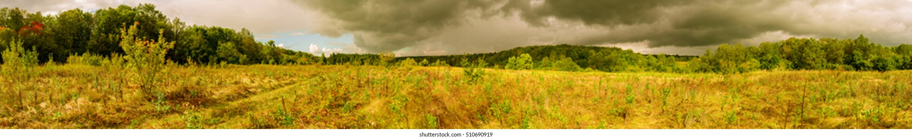 Wide panorama of hills, Autumn, Russia