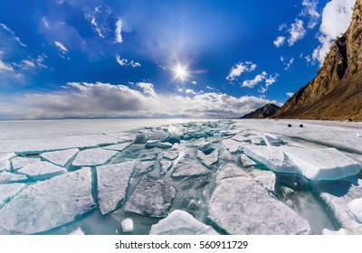 Wide panorama of Lake Baikal ice hummocks in Olkhon Island.
