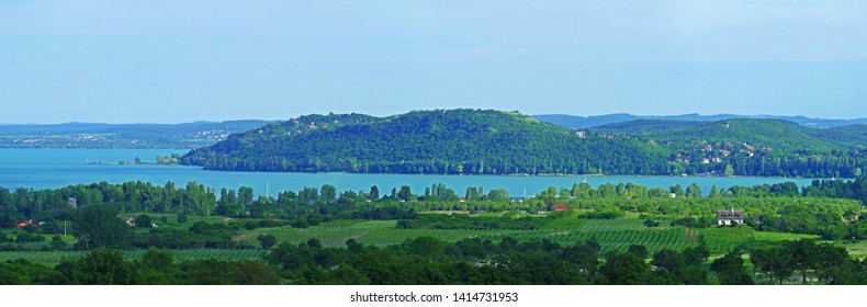 Wide panorama of Lake Balaton and Tihany