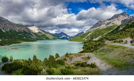 Wide panorama of Lake of Cancano - Bormio (Province of Sondrio)