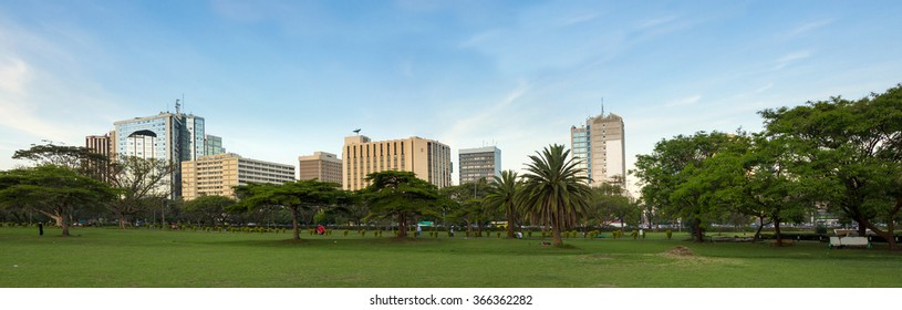 Wide panorama of Nairobi downtown area, populated shot with business names removed