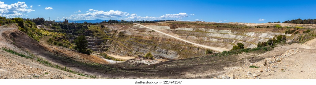Wide panorama of old decommissioned limestone mine in Melbourne, Australia