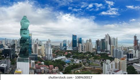 Wide panorama of Panama City Skyline - Panama City, Panama