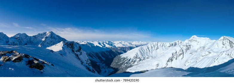 Wide panorama of popular alpine ski resort Solda (Sulden), Sudtirol, Italy