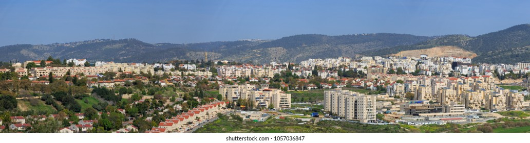 Wide panorama south side of Beit Shemesh city