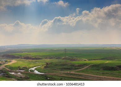 Wide panorama of spring desert Negev near Beer-Sheba