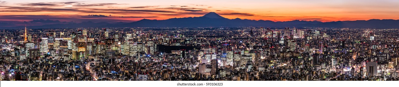 Wide Panorama of Tokyo Cityscape at dusk with Mount Fuji silhouette