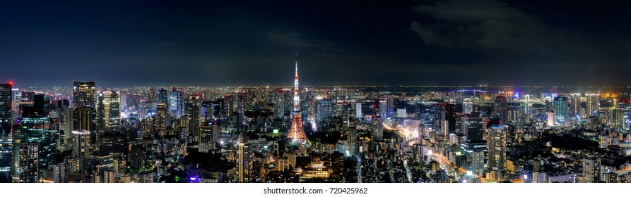 Wide panorama of Tokyo cityscape at dusk with Tokyo tower