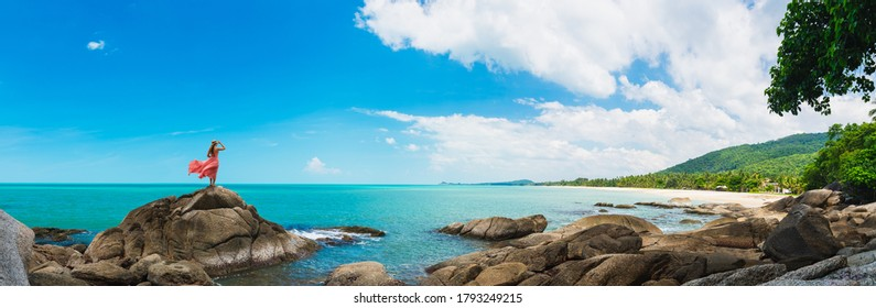 Wide panorama traveler woman in dress stand on rock joy nature scenic landscape Sichon beach, Panoramic view tourist travel thailand summer holiday vacation, Tourism beautiful destinations place Asia - Shutterstock ID 1793249215