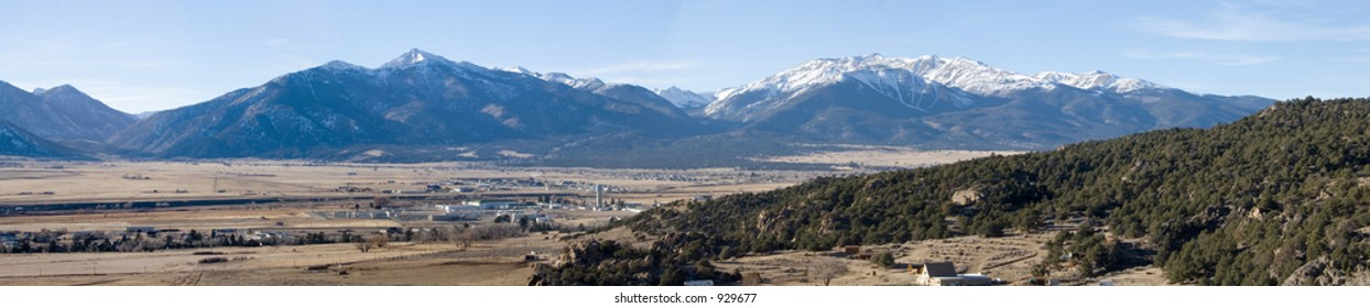 Wide panorama view of Buena Vista, Colorado, with the Collegiate Range of the Rocky Mountains