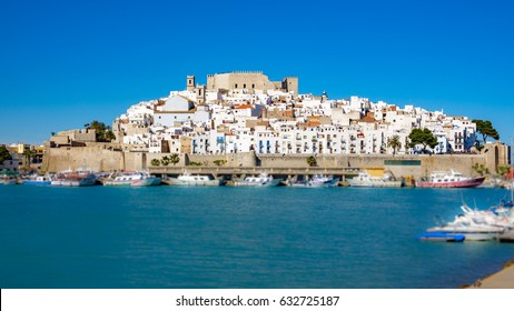 Wide panorama view of Peñiscola castle and houses in Castellon, Spain