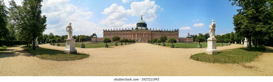 Wide panorama view of Neues Sanssouci palace and park, Potsdam,Germany landmarks