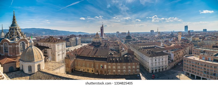 Wide panoramic aerial view of the city of Turin, Torino, Piedmont, Italy