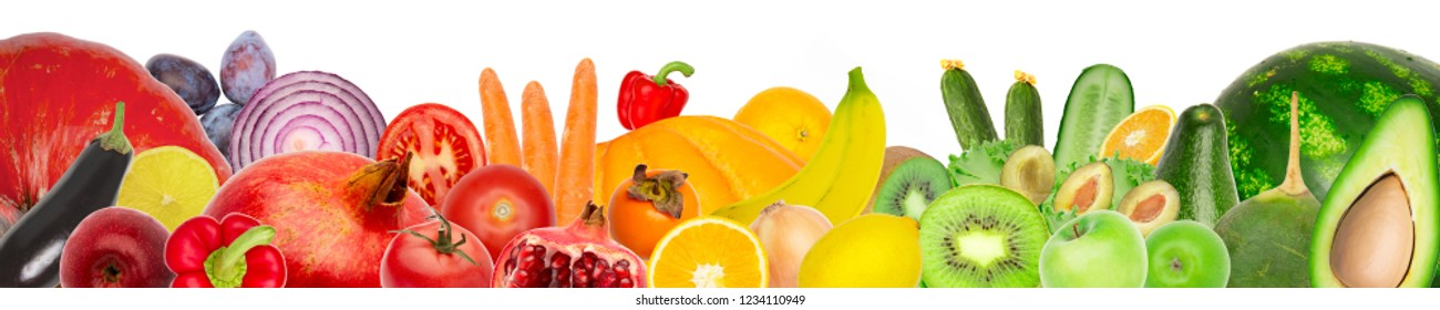 Wide panoramic collage of fresh fruits and vegetables isolated on white background. banana, pomegranate, radish, watermelon, apple, orange, carrot, onion, tomato, pepper and avocado, kiwi and pumpkin