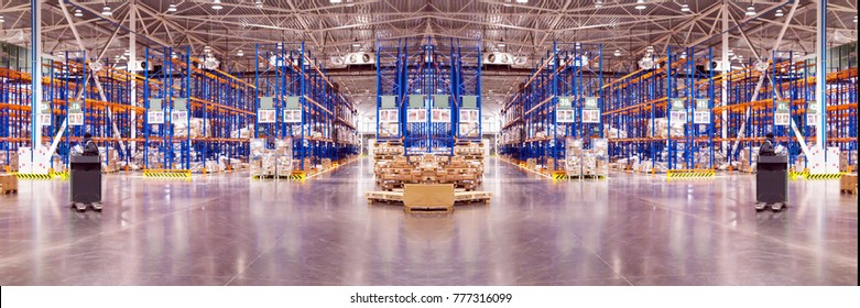 Wide panoramic collage of Typical space for storage, warehouse interior. Industrial background. Selective focus.