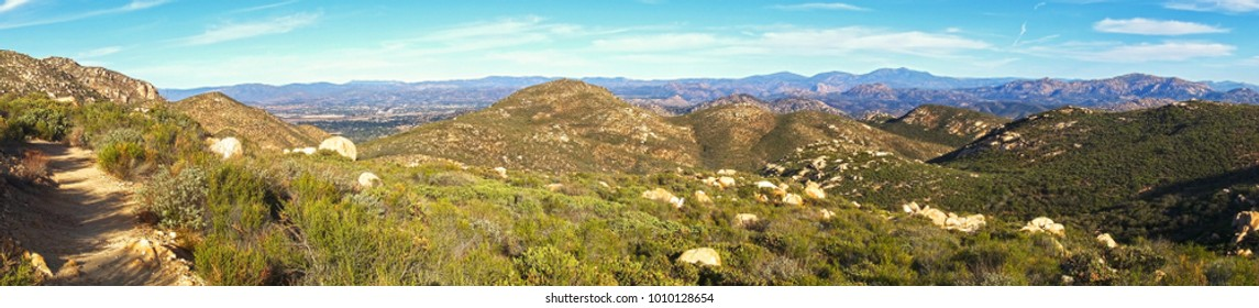 Wide Panoramic Landscape of San Diego County North Inland and distant Southern California Mountains from Iron Mountain Hiking Trail in Poway California