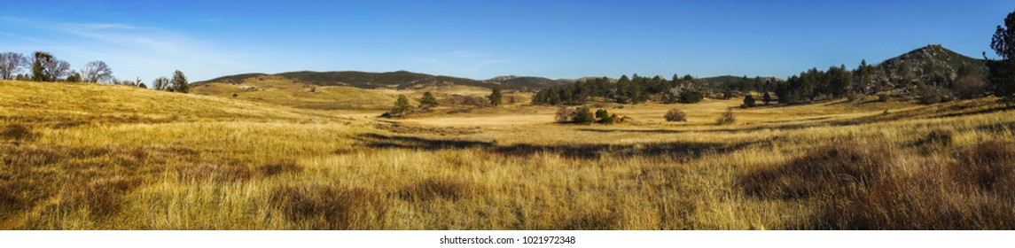 Wide Panoramic Landscape Scenic View of Alpine Meadows and Natural Grassland in Cuyamaca Rancho State Park east San Diego County on a sunny winter day