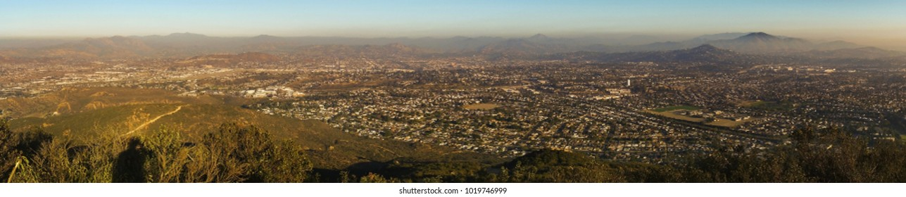 Wide Panoramic Landscape of Smog Covered San Diego County and Distant Mexico Baja California from Mt. Cowles Hiking Trail in Mission Trails Regional Park Southern California