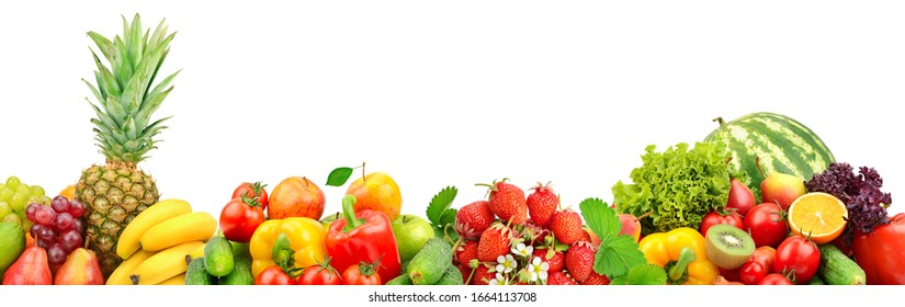 Wide panoramic photo fruits and vegetables isolated on white background