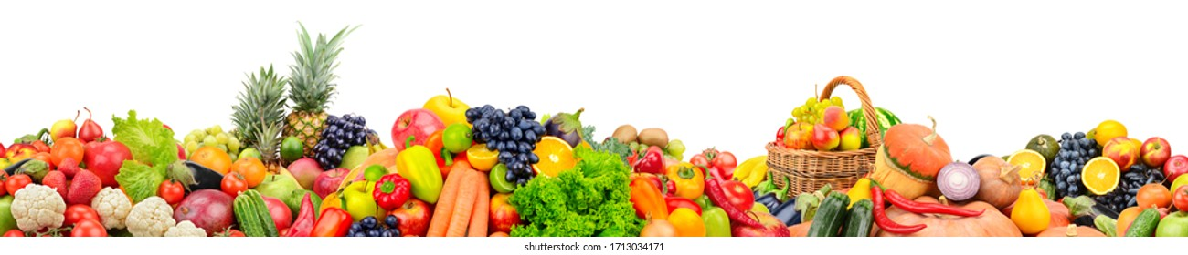 Wide panoramic photo fruits, vegetables, berries for your layout isolated on white background