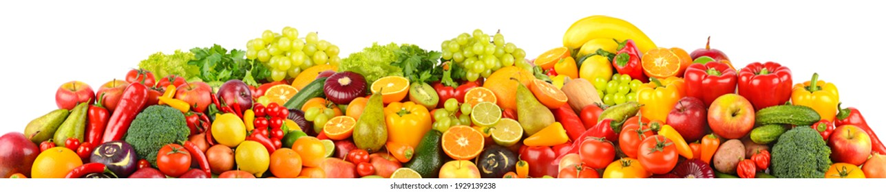Wide panoramic set of ripe, juicy fruits, berries and vegetables isolated on white background.
