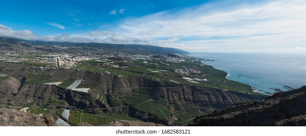Wide panoramic view from Mirador el Time viewpoint on Los Llanos de Aridane and Aridane valley, La Palma, Canary Islands, Spain