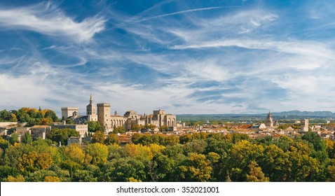 Wide panoramic view of old town and Papal palace in Avignon, France