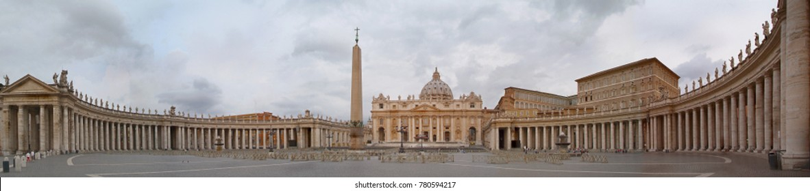 Wide panoramic view on Rome Saint Peter cathedral church on square (Piazza San Pietro). Rome old town Famous Italy sightseeing places. Famous Rome tours. Wide Vatican Rome panoramic cityscape