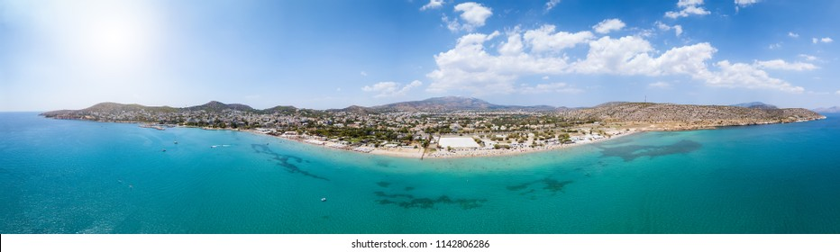 Wide panoramic view over the south coast of Athens, Greece, with fine beaches and turquoise waters