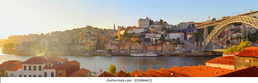 Wide panoramic view of Porto at sunset, Portugal