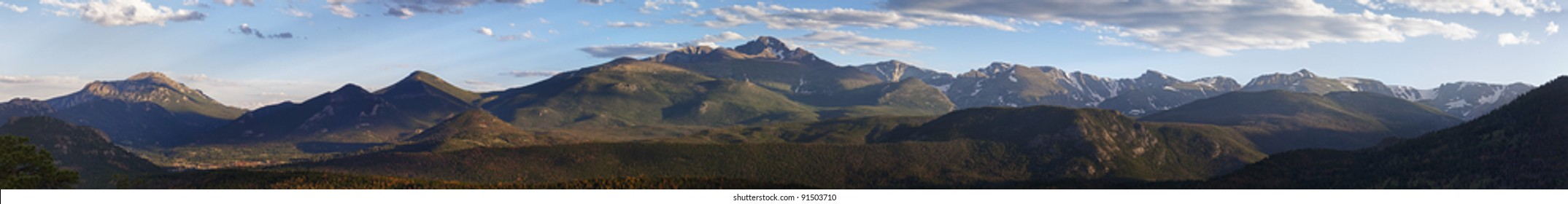 wide panoramic view of the Rocky Mountains National Park in summer