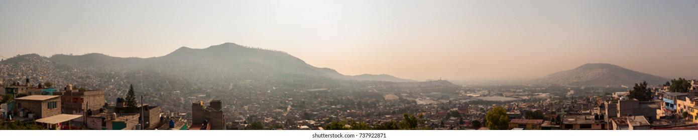 Wide Panoramic view of Tlalnepantla de Baz and Mexico City