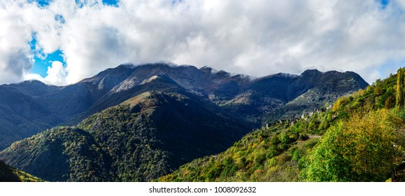 Wide panotamic view of Pyrenees on sunrise, France