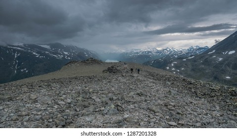wide path leading toward the top of the besseggen hike with great view (Jotunheimen national park, Norway)