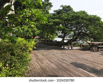 Wide and peaceful waterfront terrace.