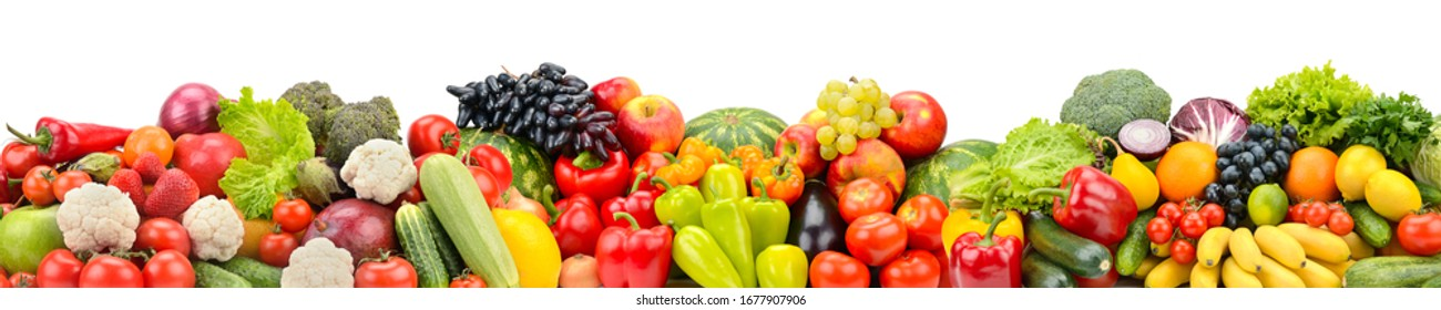 Wide photo multi-colored fruits and vegetables isolated on white background