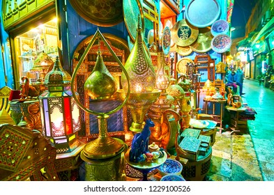 The wide range of Arabian lights, handmade metal lamps with scenic ornaments, stained-glass chandeliers and interesting souvenirs in store of Souk Khan El Khalili, Cairo, Egypt.