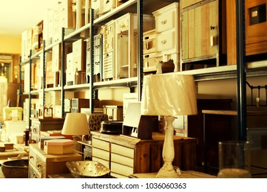 Wide range of vintage furniture and home design objects in shop