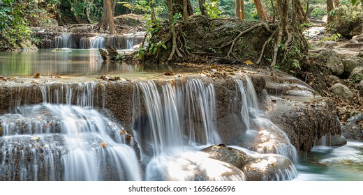 Wide rapids of a mountain waterfall