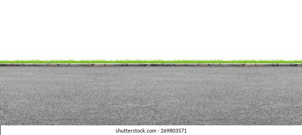 Wide road side and grass on white background