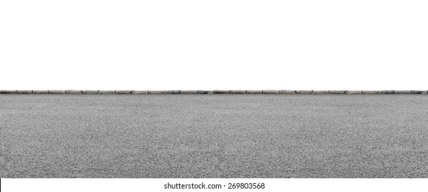 Wide road side view on white background