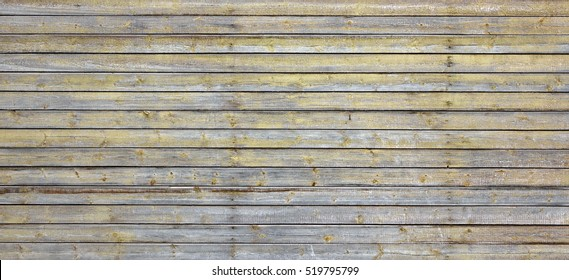 Wide Rustic Vintage Horizontal Empty Wood Plank Board Brown Grey Background. Exterior Or Interior Vintage Wooden Blank Texture. Barn Wood Design Signboard Or Billboard Structure, Abstract Web Banner